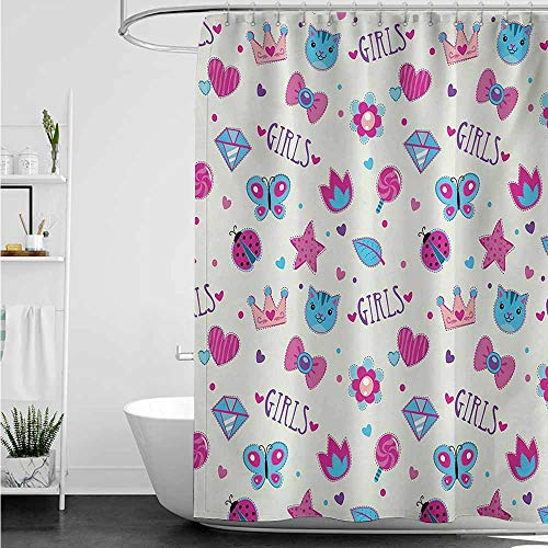 (home1love Hotel Style Shower Curtain,Teen Girls Pattern with Funny Doodle Elements Bowtie Ladybird Diamond Figures and Kitty,Waterproof Colorful Funny,W55x84L,Fuchsia Blue)