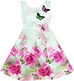 Image of HY16 Girls Dress Rose Flower Print Butterfly Embroidery Green Size 10