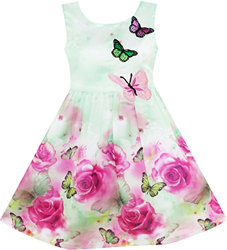 Sunny Fashion HY14 Girls Dress Rose Flower Print Embroidery Green Size 7