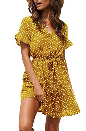 Women Pleated Polka Dot Short Sleeve Dresses Loose Swing Casual Beach Dress,Yellow M