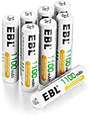 EBL 8 Pack AAA High Capacity Rechargeable Batteries 1100mAh Ni-MH 1.2V 1200 Cycles(Battery Case Included)