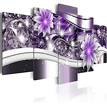 Abstract Purple Flower Painting Artwork Contemporary Diamond floral Art Canvas Print Picture Wall Decor for Bedroom Decoration