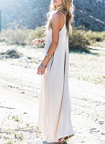 c playa v de cuello en de Bohemia mangas mujer Aeneontrue fiesta moda falda vestido con delgada sin elegante tq1RxyT