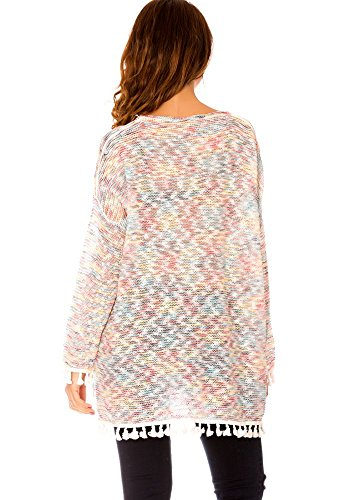 dmarkevous - Pull Fin Blanc chiné Multicolor Bordure à Pompon - Unique,  Blanc  Amazon.fr  Vêtements et accessoires 3eff3ec6c58f