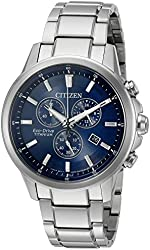 Citizen Eco-Drive Men's 'Titanium' Quartz Casual Watch, Color: Silver-Toned (Model: AT2340-56L)