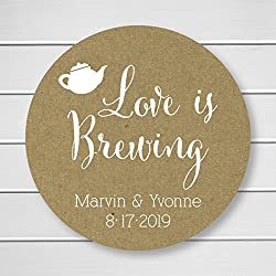 Love is Brewing Tea or Coffee Kraft Personalized Wedding Stickers/Labels (#096-KR-WT)