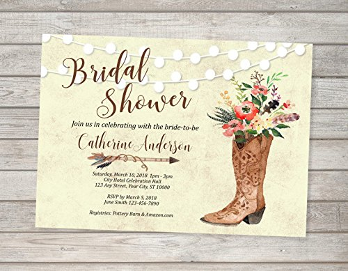 Amazoncom Cowgirl Bridal Shower Invitation Western Theme Bridal