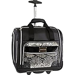 BEBE Women's Tiana-Wheeled Under the Seat Carry on Bag, Black Snake
