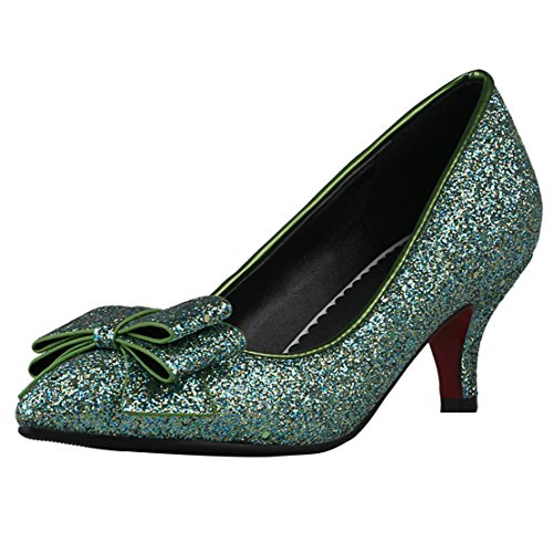 Shoes Heel AIYOUMEI with Green Kitten Women's Slip Bows Pumps on Glitter xZZS0qw6