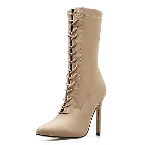 Las Mujeres señalaron los Botines del Dedo del pie de Encaje hasta los Tacones Altos Tacones Delgados Chelsea Botas Super Alta Primavera otoño Stilettos: ...