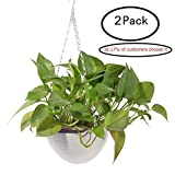 2Pcs Hanging Flower Plant Pots,Hmane Chain Plastic Basket Planter Holder Patio Home Decoration - 7.87x7.87x5.51inch