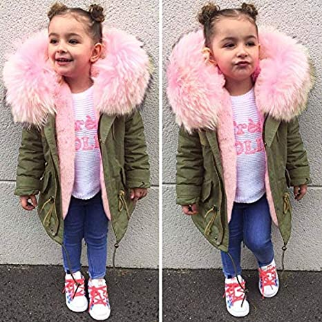 FORESTIME Children Kids Baby Girls Winter Warm Coat Fur Feather/ Collar Thicken/ Jacket Cotton Thick Long Sleeves Hooded