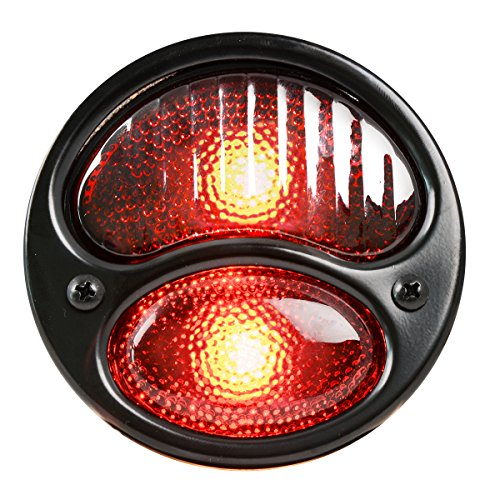 KNS Accessories KA0024 Black 12V Duolamp Tail Light for Ford Model A with Red Glass Lens