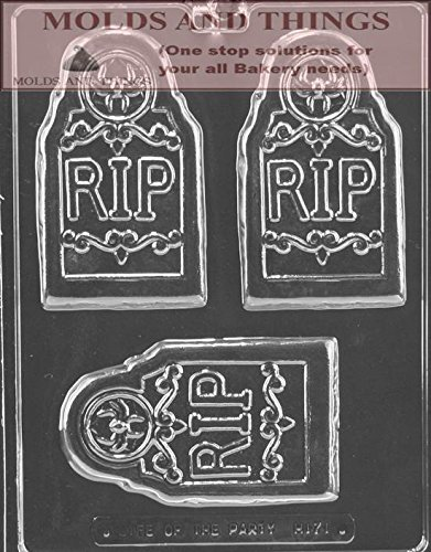 (RIP TOMBSTONE BAR Chocolate Candy mold, Halloween Chocolate Candy MoldWith Copywrited Molding Instruction)