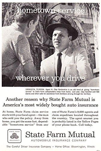 1957 State Farm Insurance  Hometown Service  Sarasota Florida  State Farm Insurance Print Ad