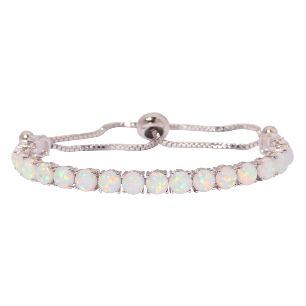 CiNily Created Blue White Fire Opal Rhodium Plated for Women Jewelry Gemstone Adjustable Chain Bracelet 4 5/8'' (OS593)