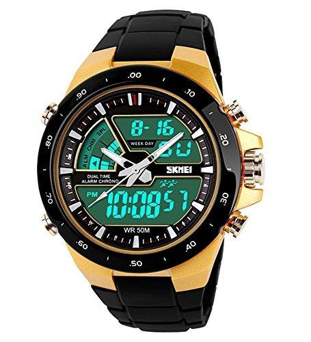 SKMEI Reloj Deportivo LED analógico-Digital Ligero Cronógrafo Alarma Mulitfunction Hombre/Mujer Muñeca relojes-negro: Amazon.es: Relojes