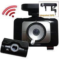 (B Type, 8GB+8GB+GPS) LUKAS LK-9370 WD 2CH Full HD WiFi Blackbox Dashcam Vehicle Dash Video Camera Touch LCD 3.5 with UV Filter