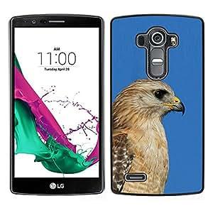 // PHONE CASE GIFT // Duro Estuche protector PC Cáscara Plástico Carcasa Funda Hard Protective Case for LG G4 / blue hawk golden brown beak hunter /