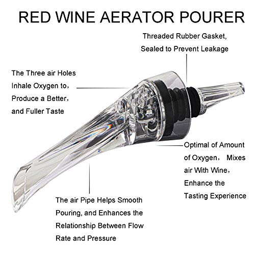 Wine Aerator Pourer - Premium Aerating Pourer and Decanter Spout, Wine Pourer Spout Perfect Gift for Wine Lovers - Gift Box Included (Black) 2pcs