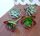 4 Artificial Succulents Plants Snow Ball Lotus Home Garden Landscape