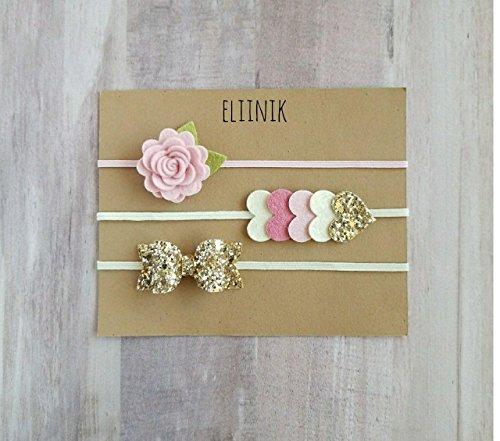 Baby headband, gold baby bow headband, baby headband set, flower headband, Newborn headband set, infant headband, baby girl headband set by eliinik