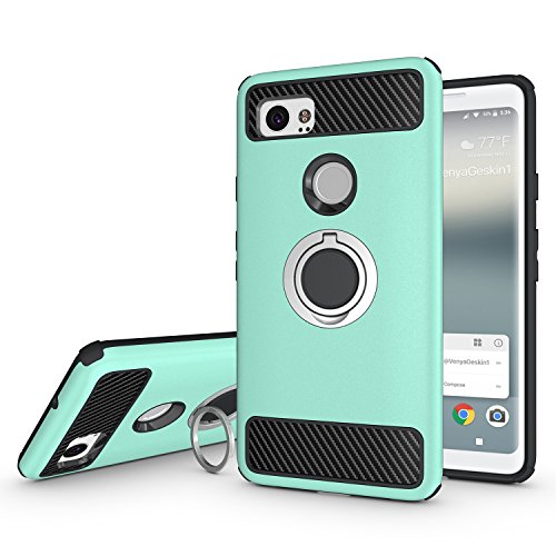Newseego for Google Pixel 2 XL Case with Armor Dual Layer 2 in 1 with Extreme Heavy Duty Protection and Finger Ring Holder Kickstand Fit Magnetic Car Mount for Google Pixel 2 XL-Green