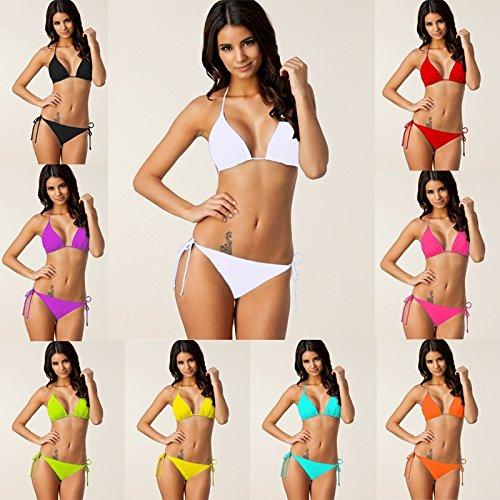 Hylong 9Colors Strappy Bandages Women Plus size Removable Pad Bikini S-XXXL Sky blue L best