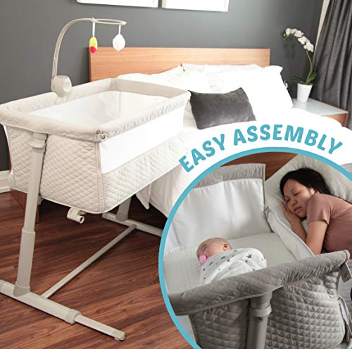 Baby Bassinets – Adjustable and Easy to Assemble Bassinet for Baby, Lightweight Baby Bassinet and Bedside Sleeper for Safe Co-Sleeping with Detachable Side Panel, CPSC and ASTM Certified