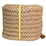Twisted Manila Rope Jute Rope 100 Feet Natural Thick Hemp Rope for Crafts, Nautical, Landscaping, Railings, Hanging Swing(1 Inch Diameter)