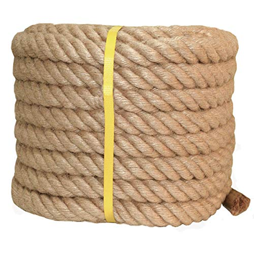 Twisted Manila Rope Jute Rope 100 Feet Natural Thick Hemp Rope for Crafts, Nautical, Landscaping, Railings, Hanging Swing(1 Inch Diameter) by YuzeNet (Image #1)