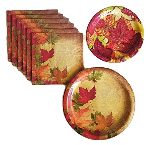 Thanksgiving Fall Harvest Leaves Party Supplies Paper Plate and Napkin Bundle Set of 3 Includes Dinner Plates, Cake Plate and, Luncheon Napkins - Service for 8 (Thanksgiving Luncheon Paper Plates)