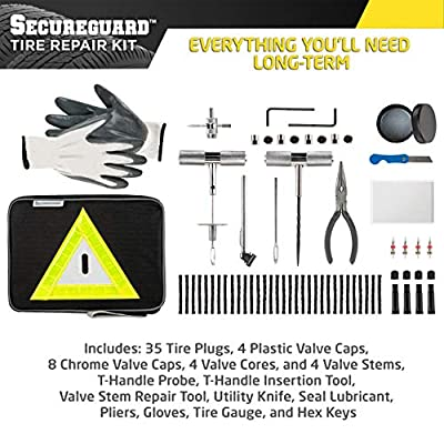 Secureguard 66 Piece Heavy Duty Tire Repair Kit - Designed for Flat Tire Puncture Repair | Premium Tire Repair Tools Perfect for Car, Truck, Trailer, RV, ATV, Motorcycle, Tractor or Equipment: Automotive
