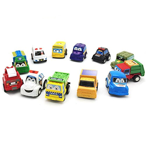 Pull Back Vehicles,12 Pack Assorted Construction Vehicles and Raced Car Toy,Zhisheng You Die Cast Vehicles Truck Mini Car Toy For Kids Toddlers Boys,Pull Back And Go Car Toy Play Set