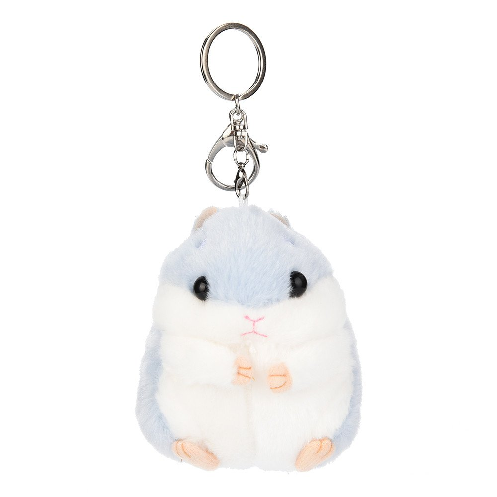 Trigle Cute Plush Hamster Pendant Key Chain Clasp Key Ring Keyring Handbag Decor Flower (Blue)