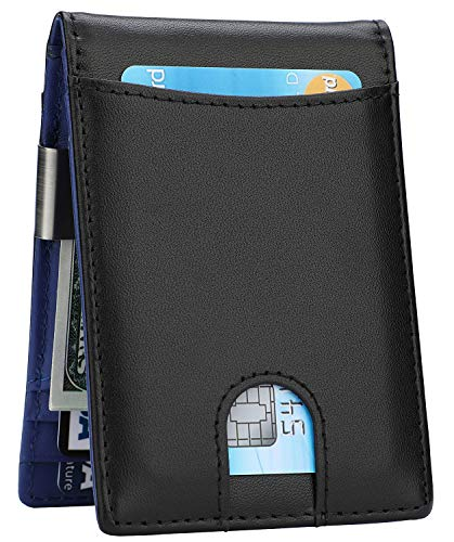 Accessories Money Clip Wallet - Money Clip Wallet - Mens Slim Front Pocket Leather Wallet RFID Blocking Minimalist Mini Wallet (Style 5 - Black/Blue)