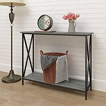 Weathered Grey Oak Finish 3 Tier Metal X Design Occasional Console Sofa Table  Bookshelf