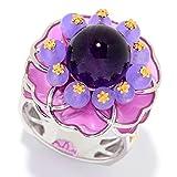 Michael Valitutti Palladium Silver Amethyst, Lavender Quartz & Enamel Flower Ring