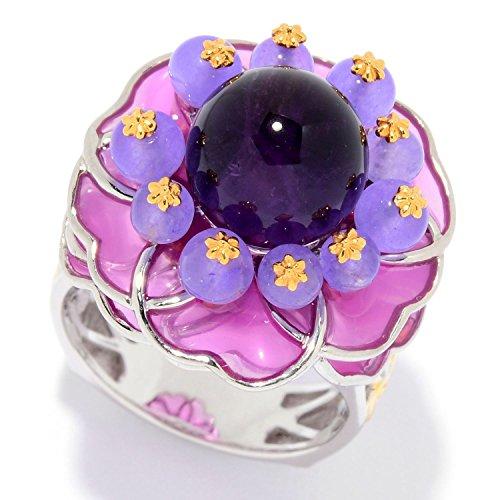 Michael Valitutti Palladium Silver Amethyst, Lavender Quartz & Enamel Flower Ring by Michael Valitutti
