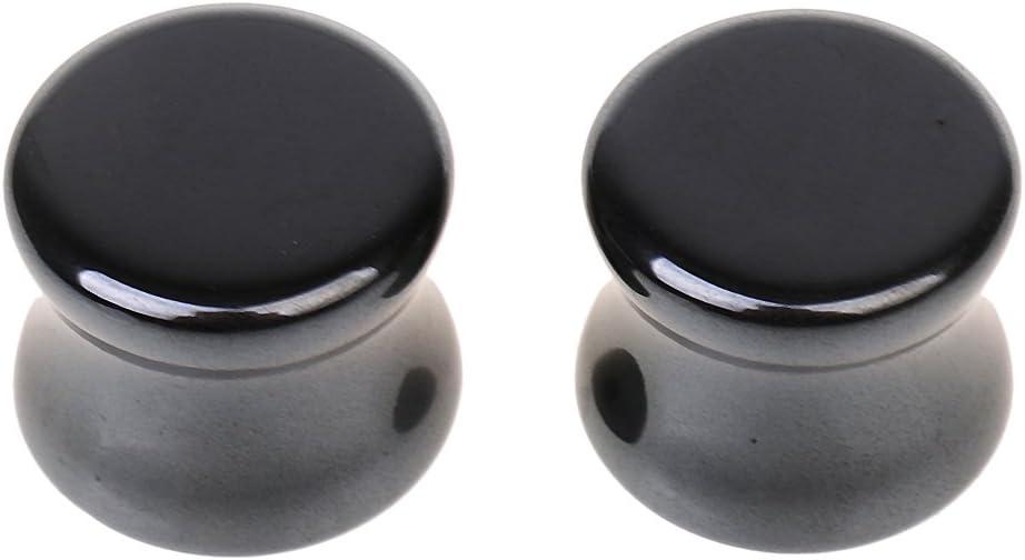 Prettyia Paar Rund Stein Ohr Expander Ohrtunnel Ohr Plug Ohrpiercing Schwarz H/ämatit 12mm