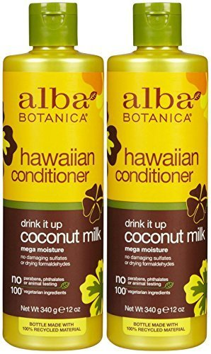Alba Botanica Hawaiian Extra-Rich Hair Conditioner, Coconut Milk, 12 oz, Pack of 2