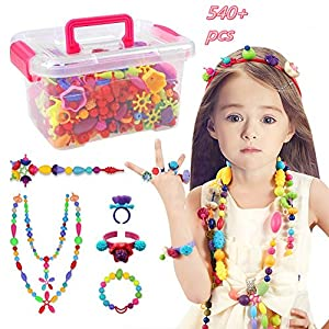 Pop Beads Set - 540+ PCS Pop Arty Beads Snap Together Beads for Girls Toddlers Creative DIY Jewelry Set Toys-Making Necklace, Bracelet, Hairband and Ring - Ideal Gift Idea for Christmas & Birthday New