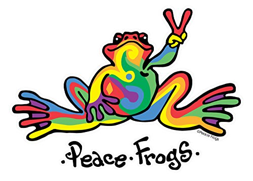 Peace Window (Enjoy It Peace Frogs Multi-Color Peace Frogs Car Sticker, Outdoor Rated Vinyl Sticker Decal for Windows, Bumpers, Laptops or Crafts)