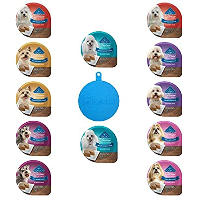 Blue Divine Delights Small Breed Dog Food Pates in Savory Juices in 6 Flavors – Top Sirloin, Filet Mignon, Porterhouse, Angus Beef, Grilled Chicken, Roasted Turkey (12 Cups Total, 3.5 Ounces Each)
