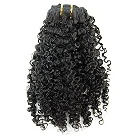 Ms Fenda Brazilian Remy Virgin Hair Kinky Curly 3B 3C Natural Color African American Clip In Hair Extensions 120Gram…