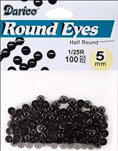 Paste On Half Round Eyes 5mm 100/Pkg-Black