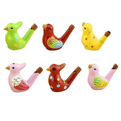 Toyvian 6 Pieces Ceramic Whistles Kid Bath Whistle Toys Ceramic Bird Water Whistles for Children: Toys & Games