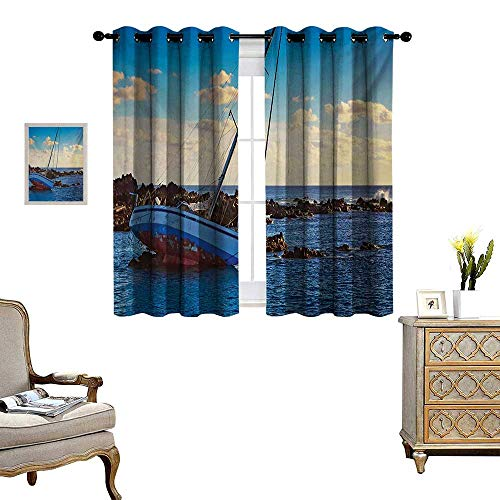 Shipwreck Patterned Drape for Glass Door Yacht in The Sea Surrounded by Ledge Rocks Coastal Incident Shroud Crash Scene Waterproof Window Curtain W72 x L45 Blue ()