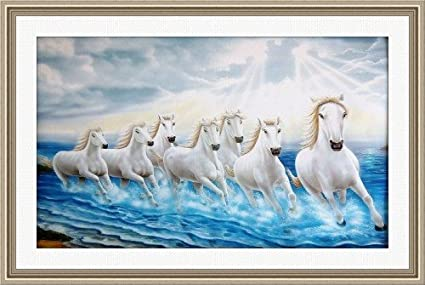 Shine India 7 Horses Painting Poster With Special Heavy Frame - (410 ...