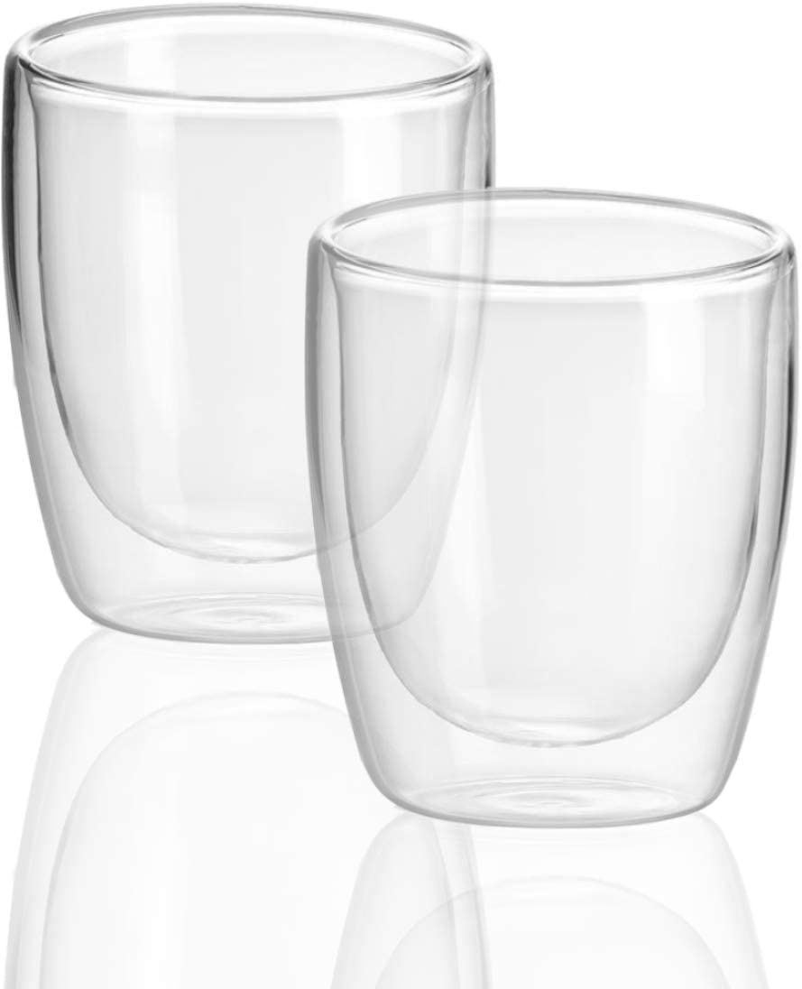 Circleware 44943 Thermax Double Wall Insulated Drinking Glasses, Set of 2, Glassware Beverage Set, Home Kitchen Entertainment Ice Tea Cups for Water, Juice, Milk, Beer, Farmhouse Decor, 11.5 oz, Clear